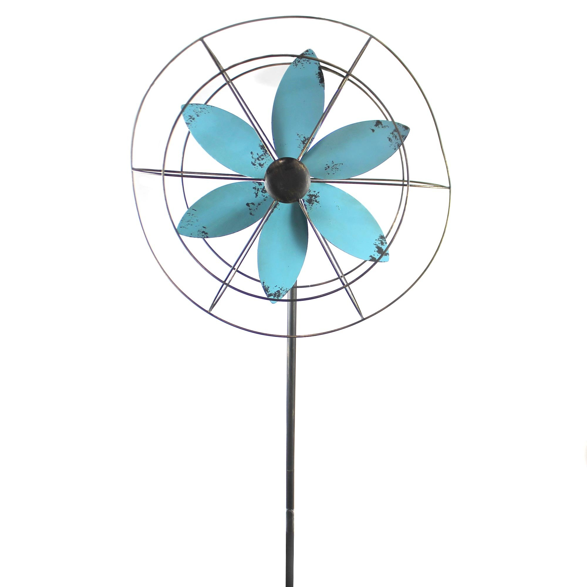 Home & Garden METAL WINDMILL Metal Yard Decoration P9169 Blue