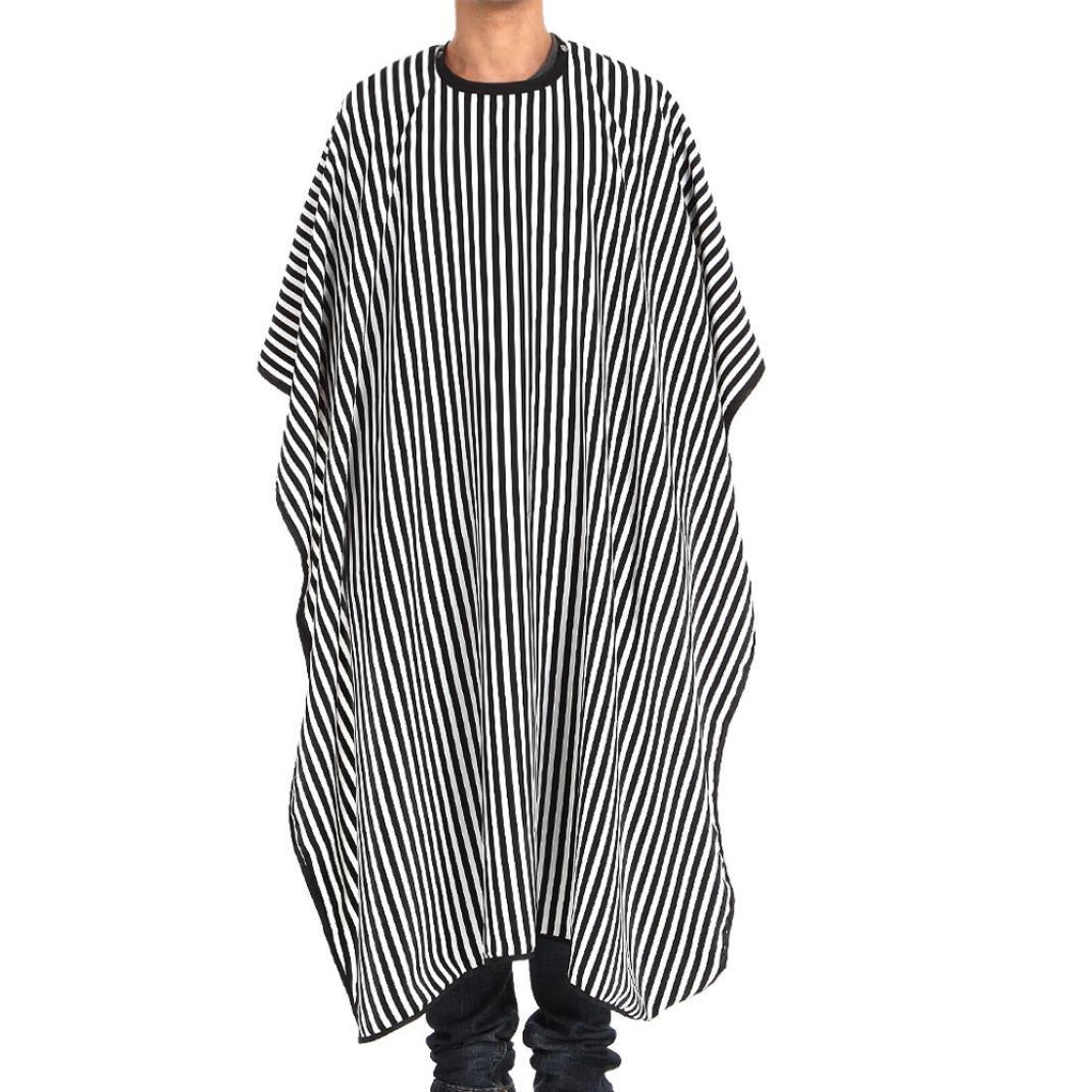 Toamen Coupe de cheveux Cape de robe de barbier Salon de tissu Imperméable Coiffure Coiffeur Rayures blanches