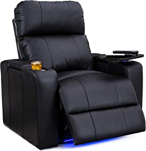 Seatcraft Julius Big & Tall 400 lbs Capacity-Home Theater Seating Leather Recliner-Adjustable Powered Headrest-SoundShaker-USB Charging-Lighted Cup Holders-Black