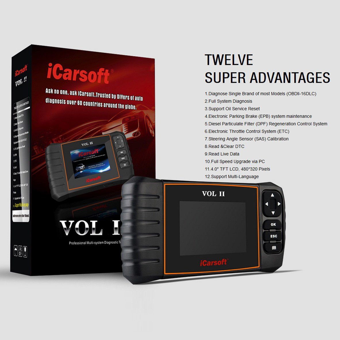iCarsoft VOL II OBDII diagnostic tool for Volvo Saab multi systems, SRS ABS Engine oil reset, EPB by iCarsoft (Image #4)