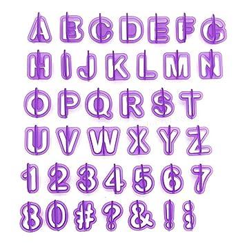 40 pcs plástico alfabeto letras número molde para tartas galletas molde DIY: Amazon.es: Hogar
