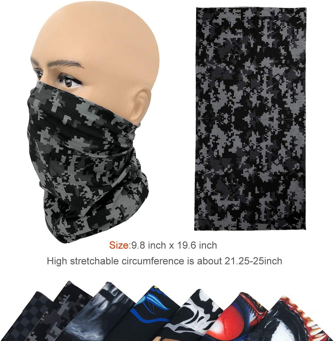 Black-nose Neck Gaiter Bandanas Dust Face Scarf Seamless Headband for Outdoors Sports