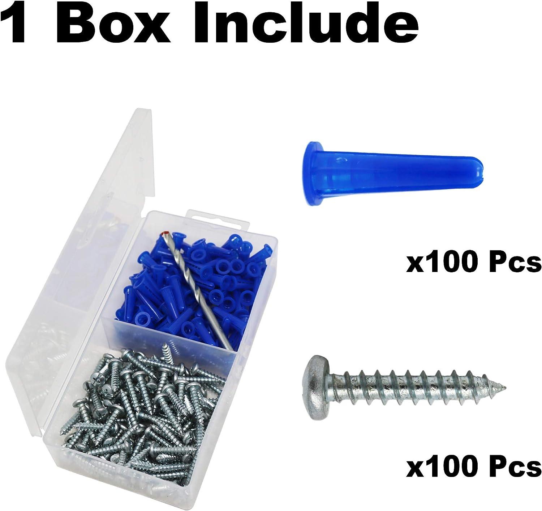 T.K.Excellent Masonry Anchor Kit 100 Pc Plastic Concrete Wall E8 Screw 10#*2 Drill Bit