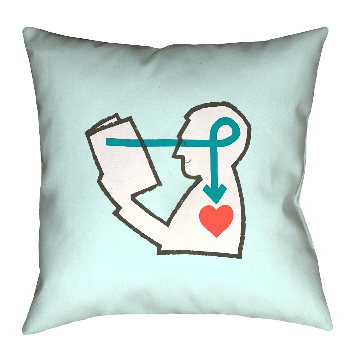 ArtVerse Katelyn Smith Reading Love Blue 18'' x 18'' Pillow-Faux Linen (Updated Fabric) Double Sided Print with Concealed Zipper & Insert by ArtVerse (Image #1)