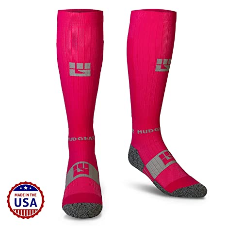 c71bbdacf5f MudGear Pink Compression Socks - Mens   Womens Running Hiking Trail (1 Pair)