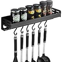 Zwart keukenrek zonder boorgaten met 6 haken, keukenrek om te kruiden, haakvormige rails, keukenassistent hangorganizer…