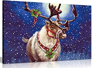 Christmas Reindeer Canvas Wall Art Picture Print (30x20in)