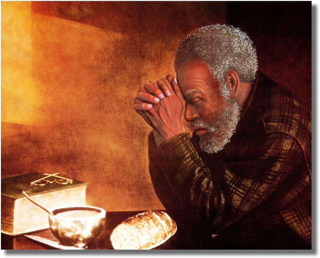 African American Black Man Praying at Dinner Table Daily Bread Religious Wall Picture 16x20 Art Print