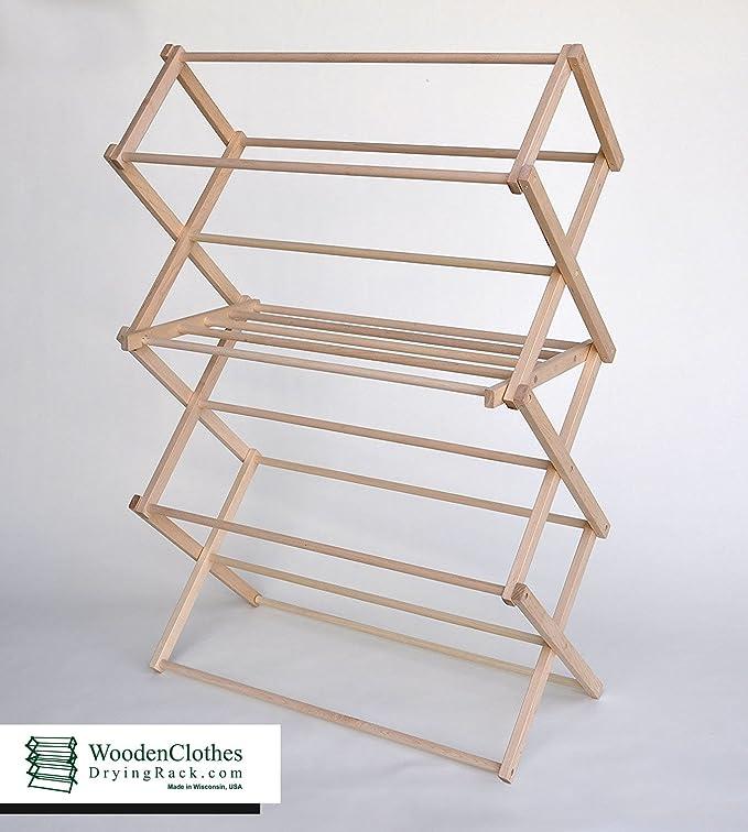 Amazon.com: Medio de madera ropa rack de secado por ...