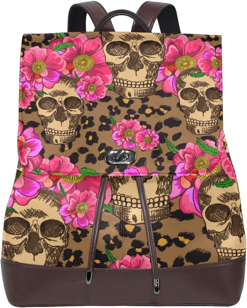 Sugar Skull And Flowers School Backpack Laptop Backpacks Casual Bookbags Daypack for Kids Girls Boys and Women