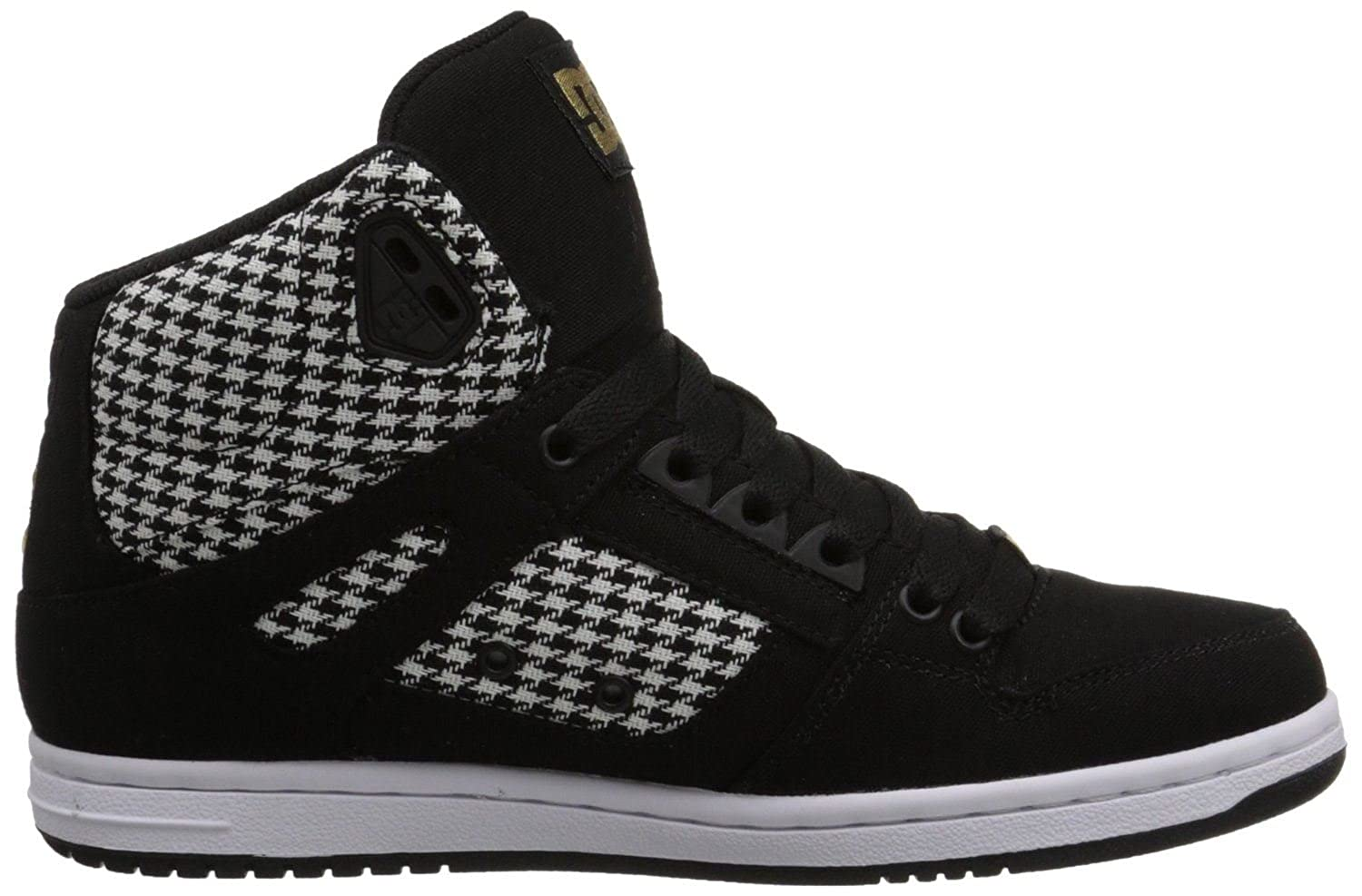 511c4e65467a60 DC Rebound Hi Black White Gold Canvas Womens Skate Trainers Shoes Boots-4   Amazon.co.uk  Shoes   Bags