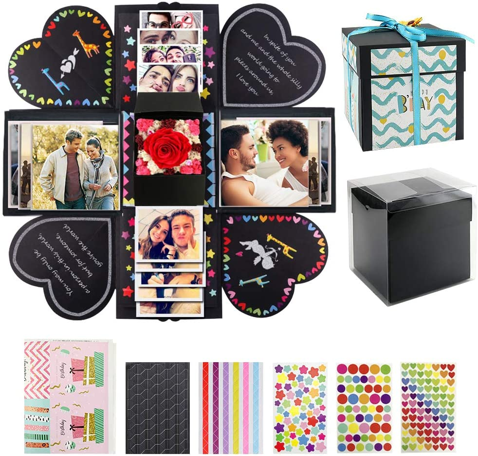 VEESUN Caja de Regalo Creative Explosion Box con Scrapbooking Accesorios, DIY Álbum de Fotos Caja, San Valentin Navidad Regalos Originals Artesanales Mujer Hombre Novio Niña Niños, Negro
