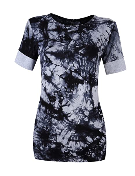 60bfa8cf587d5 Leadingstar Womens Casual Round Collar Spliced Short Sleeve T-Shirt Blouse  Tops (XL