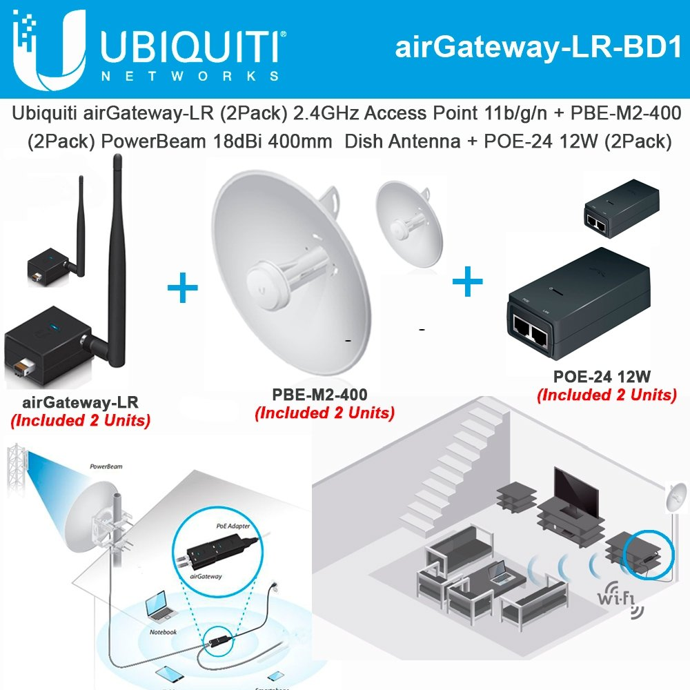 Ubiquiti airGateway-LR 2Pack 2.4GHz Access Point +PBE-M2-400 x2 PowerBeam 18dBi