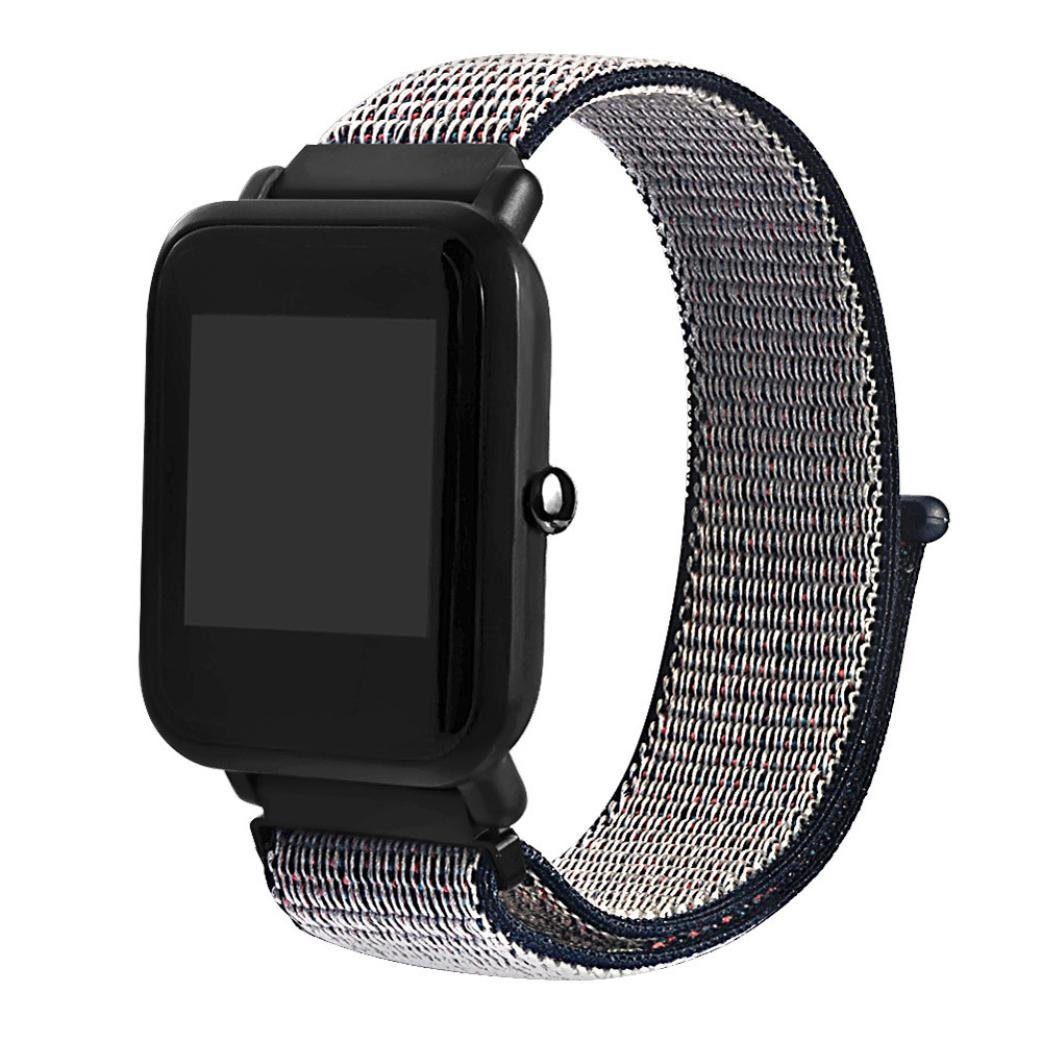 For Xiaomi Huami Amazfit Bip Youth Smart Watch Stylish Replacement Smartwatch Band Strap Strapy56 Lightweight Cool Magic Sticker Canvas Nylon Wrist