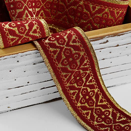 50mm red gold jacquard embroidered ribbon applique motif trimming