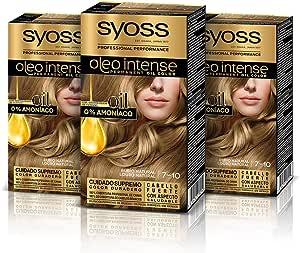 Syoss Oleo Intense - Tono 7-10 Rubio Natural (Pack De 3) – Coloración permanente sin amoníaco – Resultados de peluquería – Cobertura profesional de ...