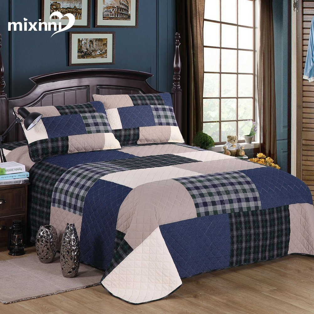 mixinni 3-Piece Grid Quilt Set with Shams Soft All-Season Cotton Bedspread & Coverlet King,Navy Blue by mixinni