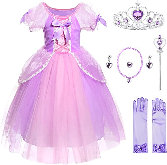 JerrisApparel Niña Princesa Disfraz Rapunzel Papel Cosplay Partido ...