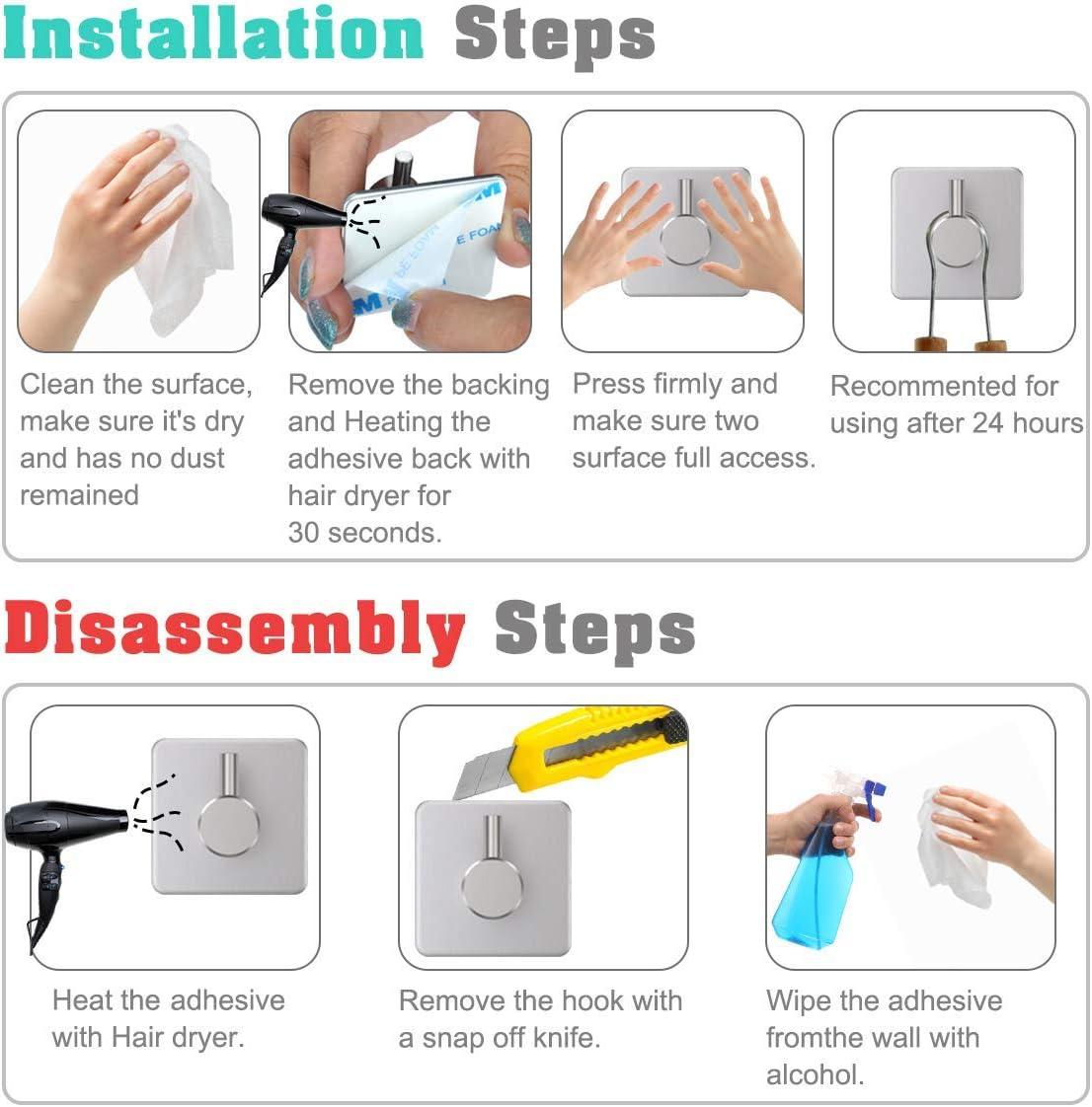 Dewel 8pcs Ganchos Adhesivos para Pared Toalleros de barra Acero Inoxidable Colgadores Colgador para Llaves//toalla ba/ño//ropa