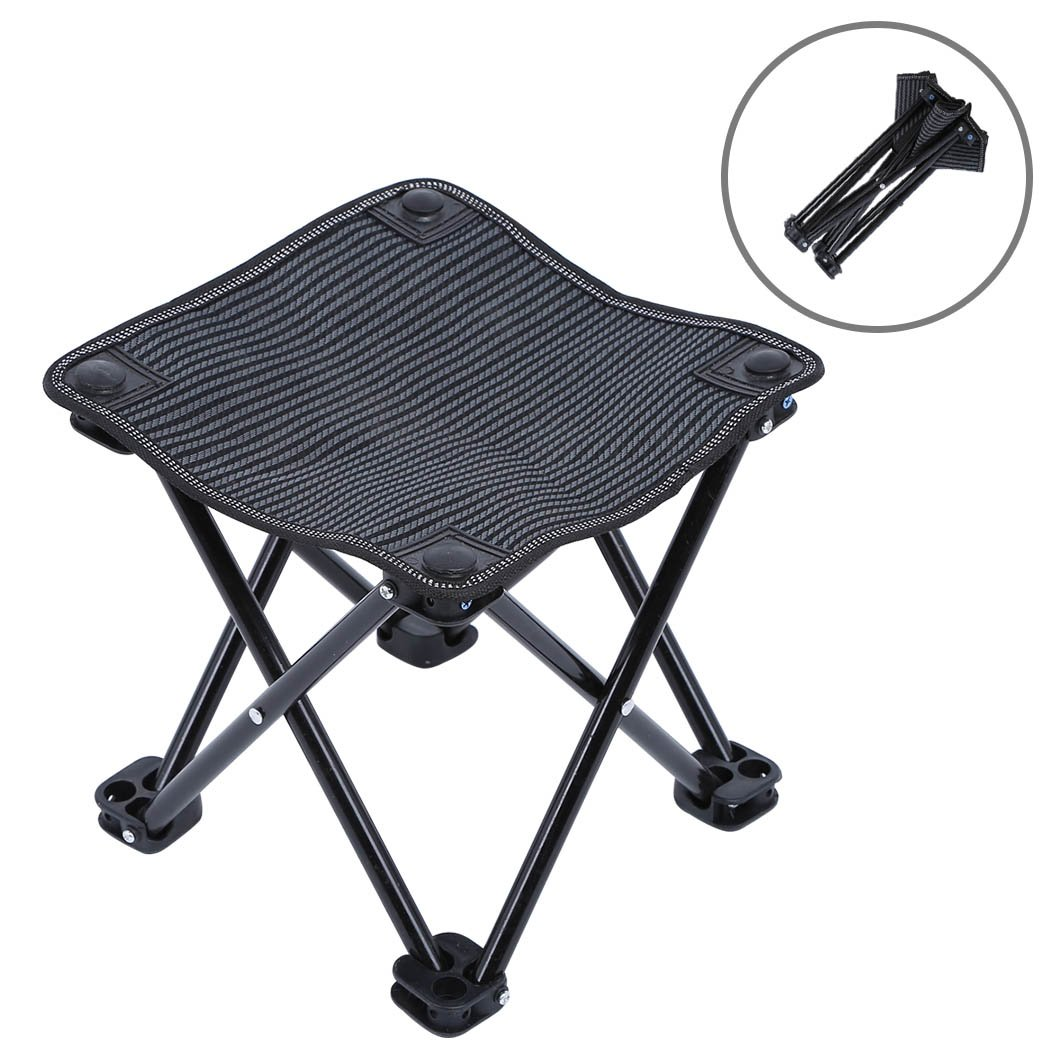 "Mini Portable Folding Stool, Outdoor Folding Camping Stool, Picnic, Fishing, Travel, Hiking, Garden, Beach, Quickly-Fold Chair Oxford Cloth with Carry Bag 10"" W x 10"" D x 10.2"" H (Black)"