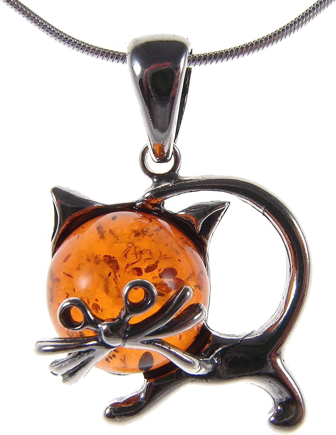 BALTIC AMBER AND STERLING SILVER 925 DOLPHIN ANIMAL PENDANT NECKLACE 10 12 14 16 18 20 22 24 26 28 30 32 34 36 38 40 1mm ITALIAN SNAKE CHAIN