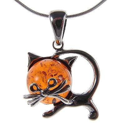 Ámbar báltico y plata de ley 925 – colgante de gato de gatitos y animales joyas