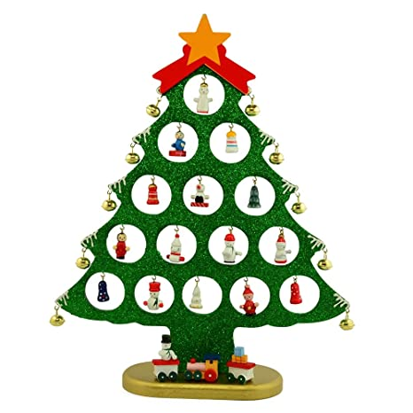 12 decorative wooden christmas tree with miniature wood ornaments decoration