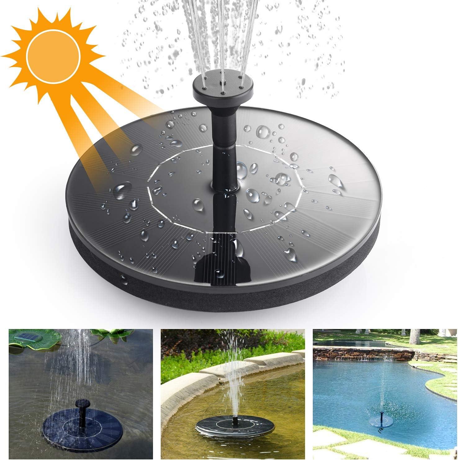 Ulikey Fuente Solar Bomba, Bomba de Agua Solar - 1.4W Bomba de Fuente Solar, Energía Solar al Aire Libre de pie Fountain Pump Solar Kit de Bomba de Agua, Patio Jardín Decoración