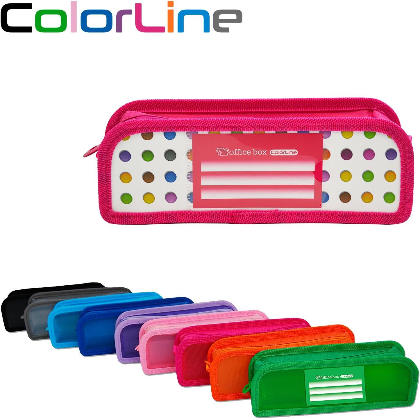 Colorline 59111 - Portatodo XL con Fuelle de Tela, Estuche Multiuso con Fuelle de Tela de Gran Capacidad para Material Escolar. Color Puntos Colores, Medidas 22 x 8 x 5 cm: Amazon.es: Oficina y papelería