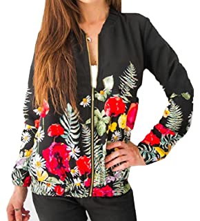 ONTBYB Womens Embroidery Floral Casual Short Bomber Jacket Coat