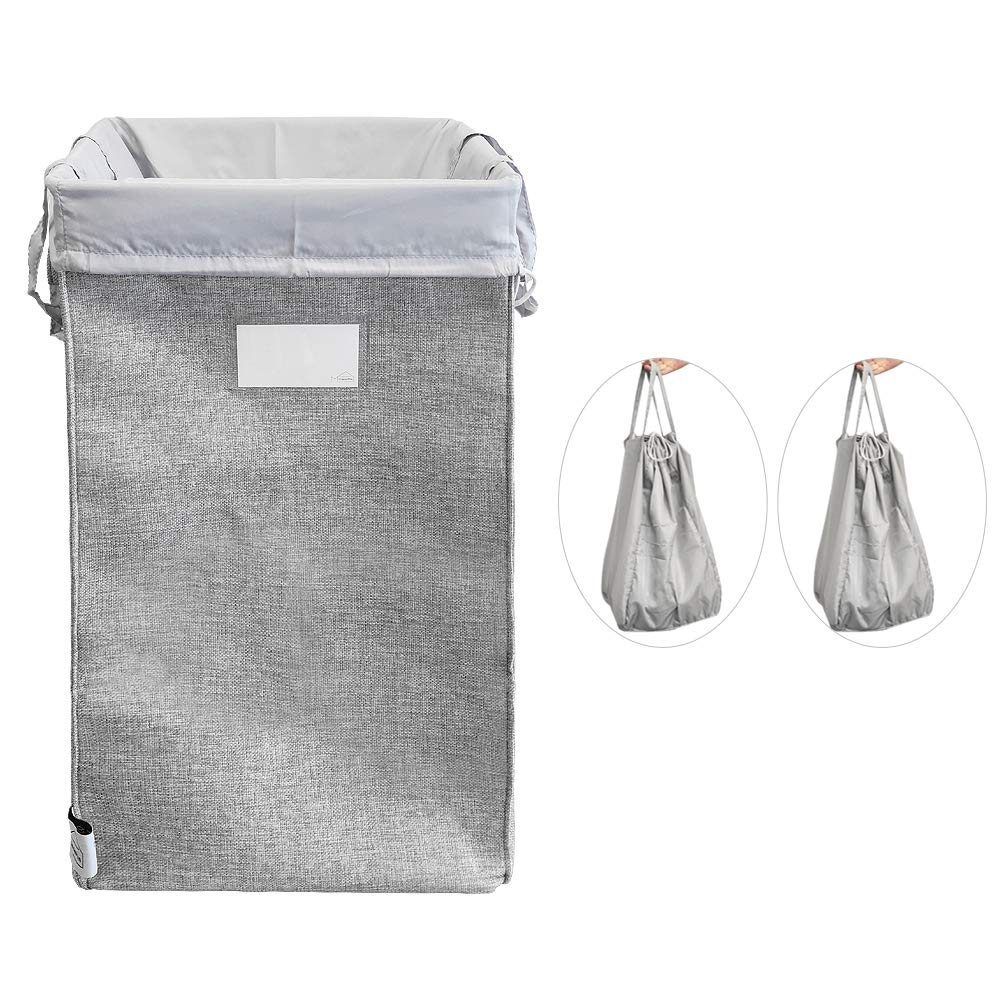 MCleanPin 3 in 1 Laundry Hamper Collapsible with 2 Removeable Laundry Bags & Sorting Card, Dirty Clothes Hamper Large Size, Durable Linen, 2 Handles Foldable Hamper Dorm Room Storage for College.