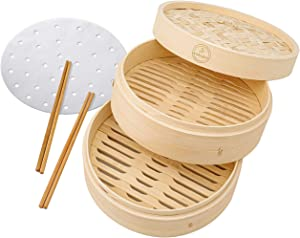 Handmade Natural Bamboo Steamer Basket 10 inch -  Dumpling Steamer - Asian - Chinese Food - Bao Bun - Momo - Dim Sum Steamer - 10 Liners and 2 Chopsticks - Vegetable - Seafood Steamer Pot for Cooking