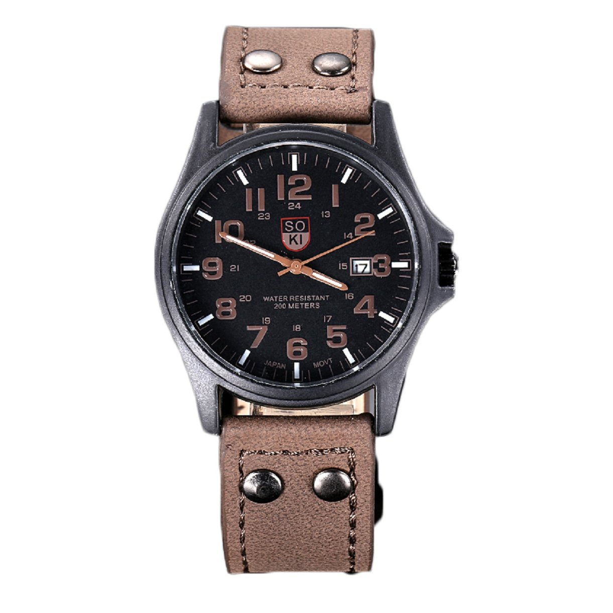 Amazon.com: Lookatool Vintage Classic Mens Waterproof Date Leather Strap Sport Quartz Army Watch: Lookatool: Watches