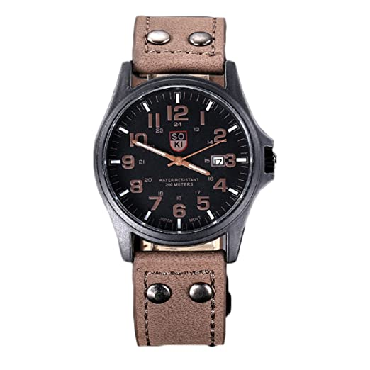 Lookatool Vintage Classic Mens Waterproof Date Leather Strap Sport Quartz Army Watch