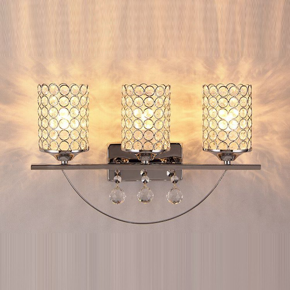 Modern Mirror Front Crystal Wall Lights Bthroom Gold/Silver Wall Sconces Crystal Cup Luxury Wall Lighting Fixture (3 Heads-Silver)