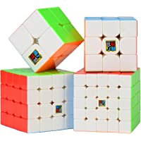 Roxenda Speed Cube Bundle Moyu 2x2 3x3 4x4 5x5 Stickerless Bright Magic Cube Cubing Classroom Smooth Puzzles Cube Set with Gift Packing