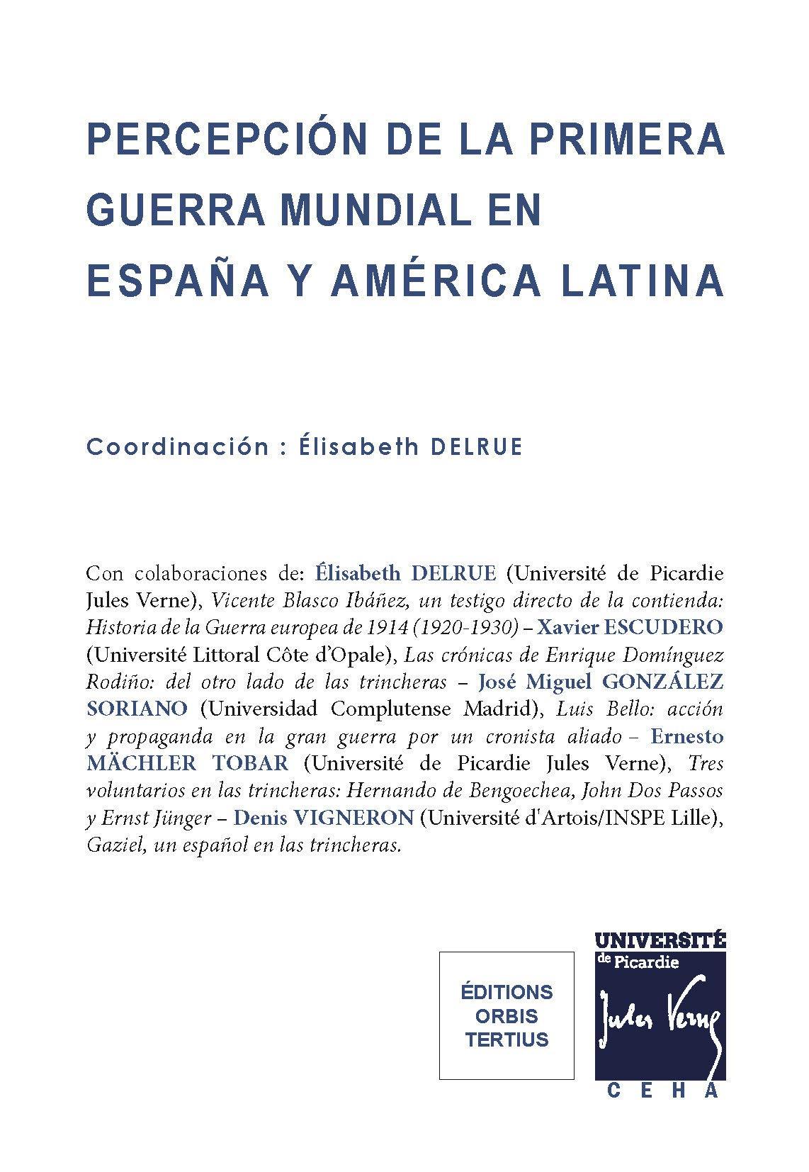 Percepcion de la Primera Guerra Mundial en Espana Y en America Latina: Amazon.es: Delrue Elisabeth: Libros en idiomas extranjeros