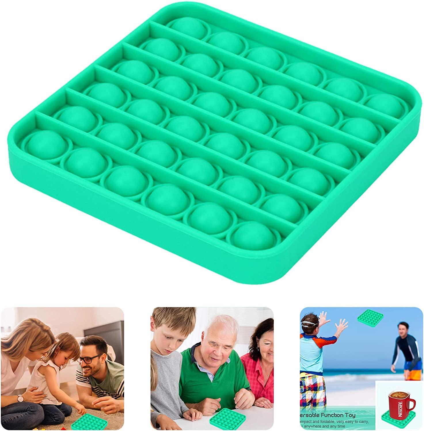 Push Popping Bubble Fidget Sensory Toy, Push It Bubble, Autism ADHD Special Needs Stress Reliever, Popping Games for Kids and Adults, Silicone, Square, Green