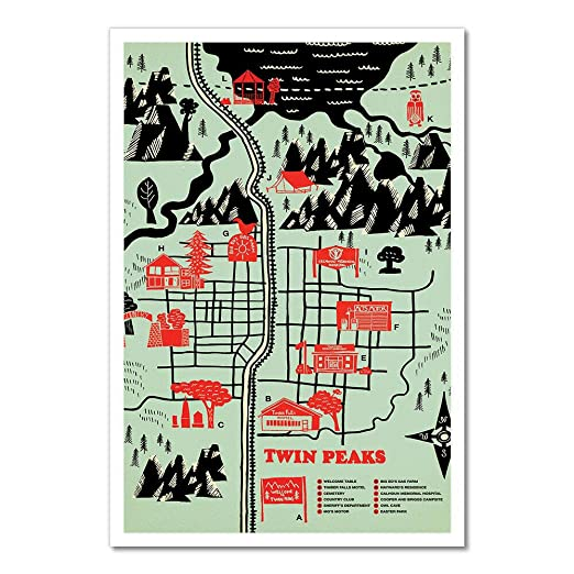 HiSign Twin Peaks Map Retro Cartel de Chapa Coffee Póster ...