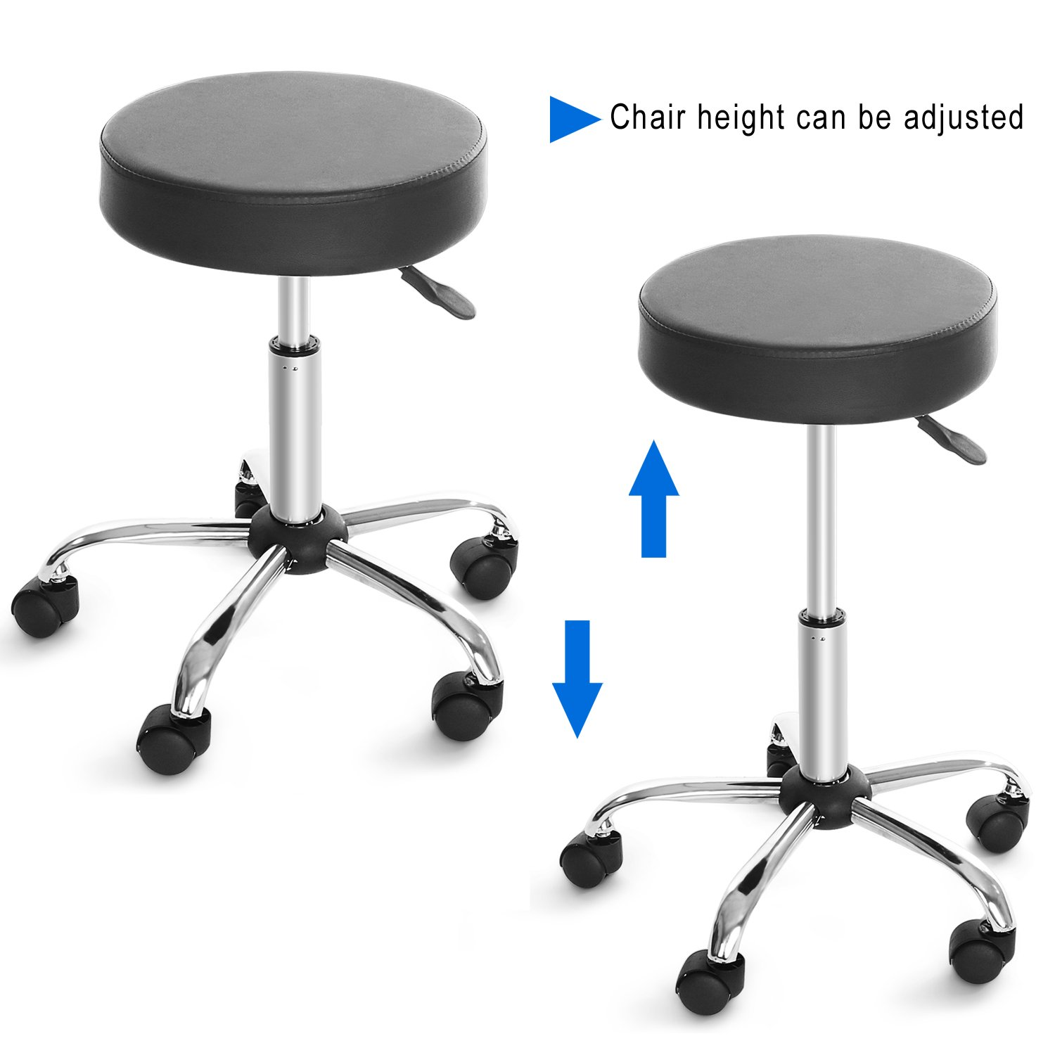 Amazon.com: Cnlinkco Round Height Adjustable Rolling Swivel Salon Bar Stool  Kitchen Modern Chair With Dual Wheel: Kitchen U0026 Dining