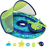 SwimWays Baby Spring Float Activity Center with Canopy - Inflatable Float for Children with Interactive Toys and UPF Sun Protection - Blue/Green Octopus