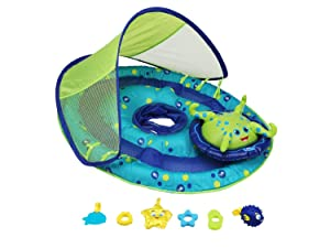 SwimWays Baby Spring Float Activity Center with Canopy - Inflatable Float for Children with Interactive Toys and UPF Sun Protection
