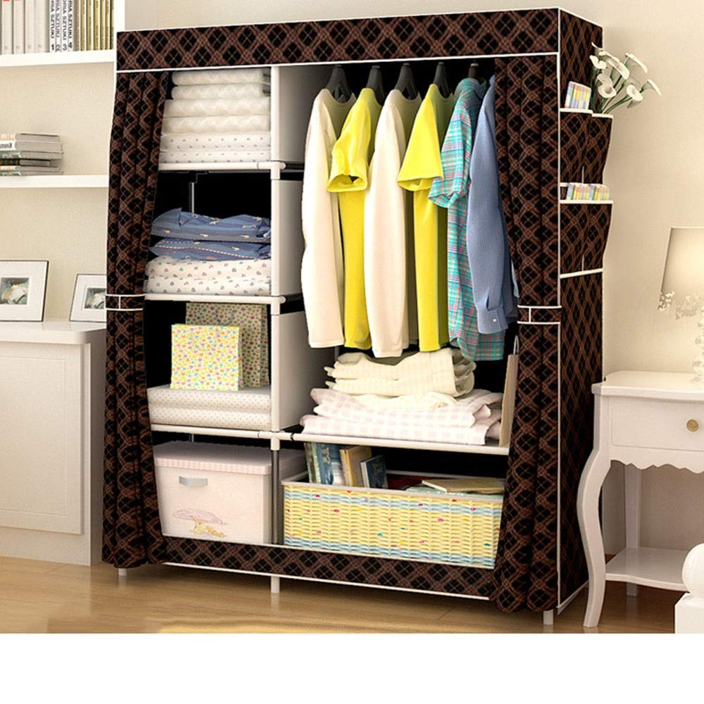 PPKQ Portable Wardrobe Clothes Storage Organizer Assembled Steel Frame Quality Simple Modern Large Closet Organizer (Color : C) by PPKQ