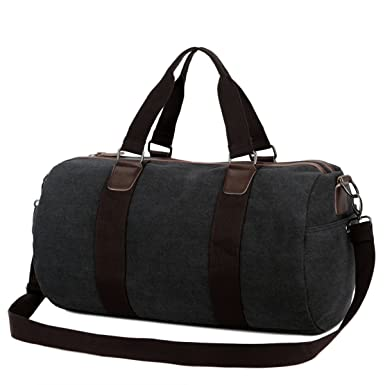 Amazon.com | BAOSHA Canvas PU Leather Men Weekend Overnight Travel ...