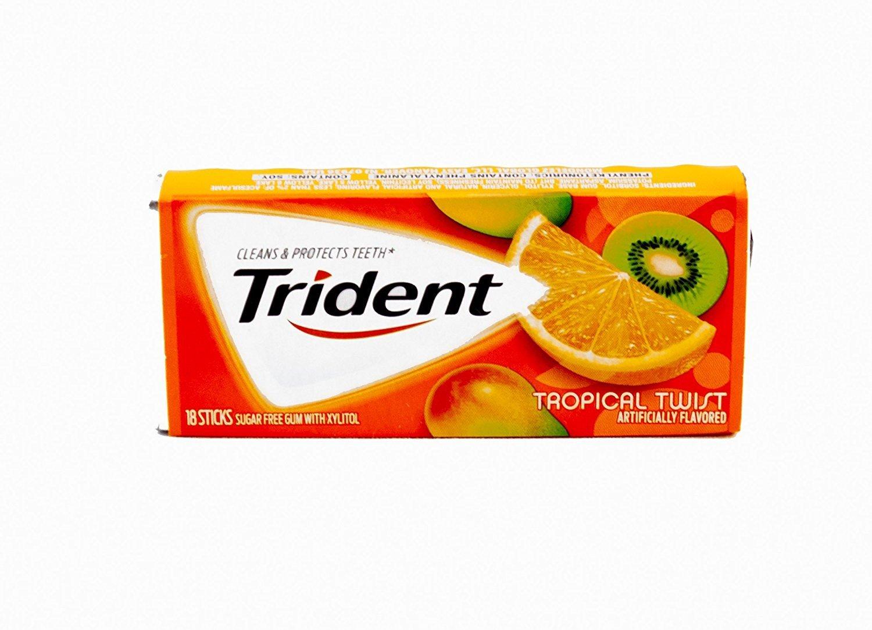 Amazoncom Trident Sugar Free Gum Tropical Twist 18 Piece 12