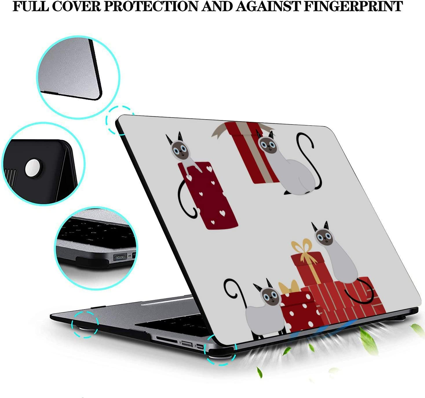 MacBook Air 11 Case Cartoon Cat with Red Gifts Box Plastic Hard Shell Compatible Mac Air 11 Pro 13 15 Mac Book Pro Case Protection for MacBook 2016-2019 Version
