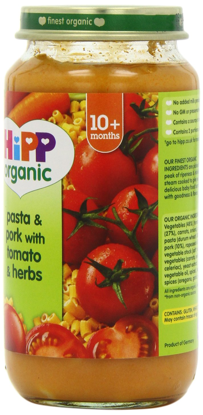 HiPP Organic Stage 3 From 10 Months Growing up Meal Pasta and Pork with Tomato and Herbs 250 g (Pack of 6)