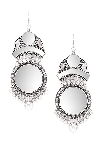 a5162d7bc Buy Rubans Oxidised Silver Toned Embellished With Mirror Statement Drop  Earrings Online at Low Prices in India | Amazon Jewellery Store - Amazon.in