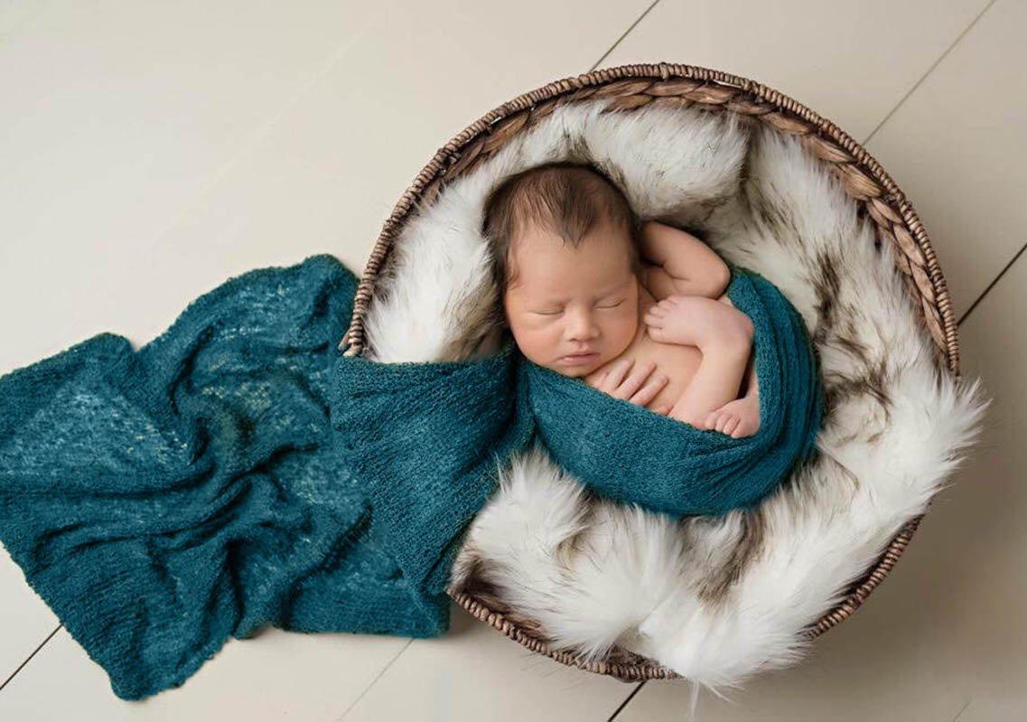 Sunmig Newborn Baby Stretch Wrap Photo Props Wrap-Baby Photography Props (Dark Green)